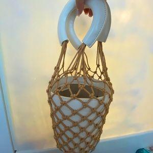 STAUD mesh leather bag ivory colour